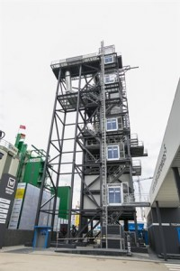 Benninghoven dominates the booth - its large asphalt plant is the highest structure ever seen at Bauma