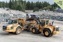 Volvo CE demonstrated its prototype autonomous wheeled loader and hauler during its Xploration Forum in Eskilstuna, Sweden